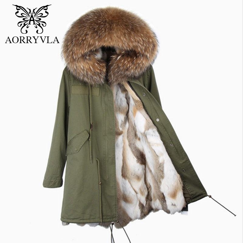 AORRYVLA 2018 New Winter Women's Real Rabbit Fur   Parkas   Large Raccoon Fur Collar Hooded With Rabbit Fur Lining Long Coat