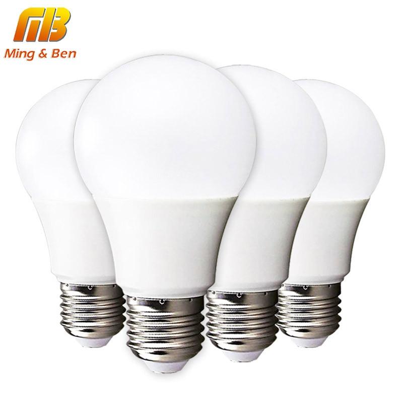 [Mingben] 4 шт./лот Светодиодный лампа E14 E27 3 Вт 5 Вт 7 Вт 9 Вт 12 Вт 15 Вт 220 В светодиодный лампада ампулы Bombilla высокое Яркость светодиодный свет SMD2835
