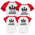 Hot New Children clothes King Queen Prince Princess Family Christmas T Shirt For Father Mother Kids t-shirt Black Red clothes