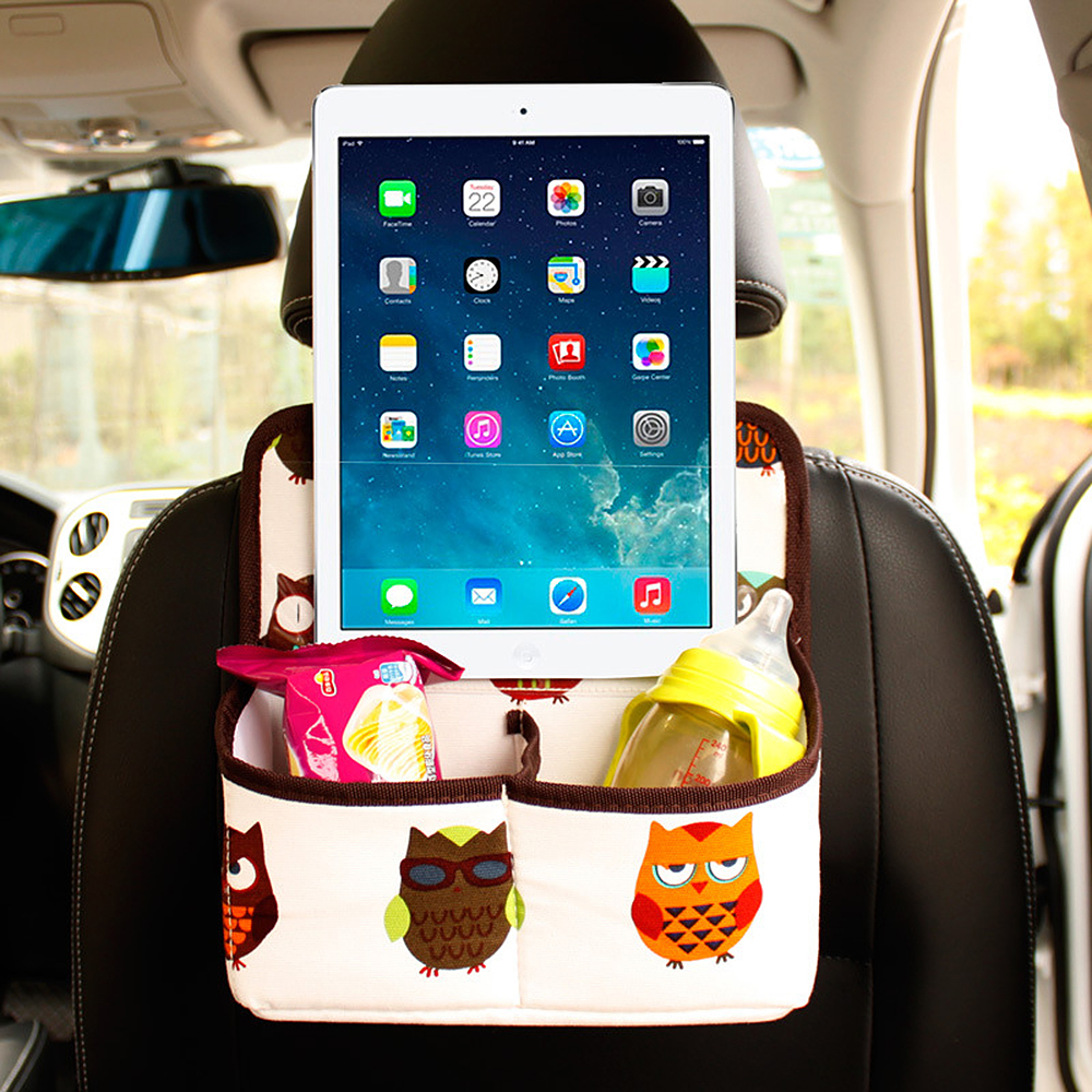 Car Back Seat Organizer Cartoon Storage Bag for Food Beverage Phone Ipad Auto Interior Accessories Universal Stowing Tidying