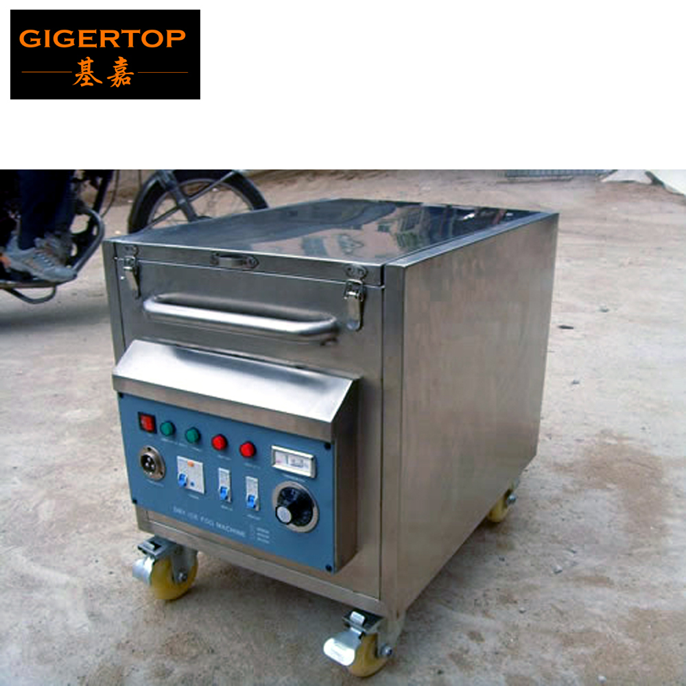 TIPTOP 3000W Co2 Dry Ice Fog Machine Stainless Steel Bracket Case Rolling Wheel Dual Water Heater Carbon Dioxide Smoke Projector edtid new high quality small commercial ice machine household ice machine tea milk shop