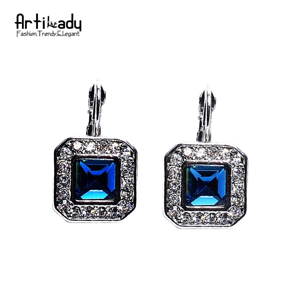 Artilady navy blue crystal earrings charm silver color ...