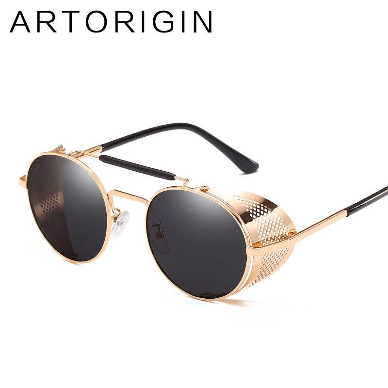ARTORIGIN Round Steampunk Sunglasses Men Women Cool Mirror Punk Goggles Vintage Personality Eyewear Gafas 9234