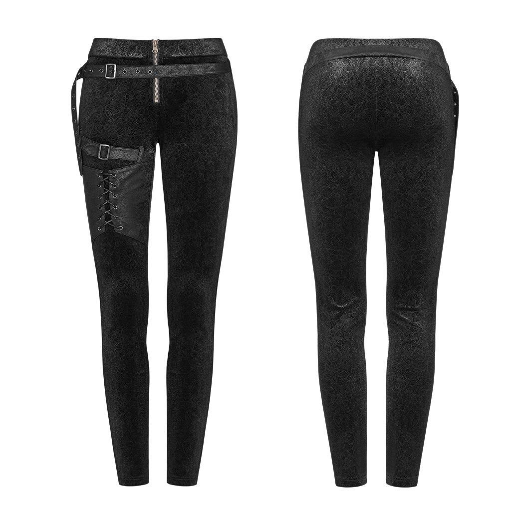 PUNK RAVE femmes gothique laçage Leggings mode Steampunk rétro velours crayon pantalon avec cuir Skinny pantalon - 5