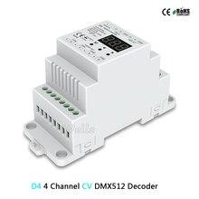 D4C 4 Channel CC DMX512 Decoder; 4CH 150 1800mA setting dmx address Track Type;D4(CV )/DL( 0 10V) 4CH DMX512 decoder