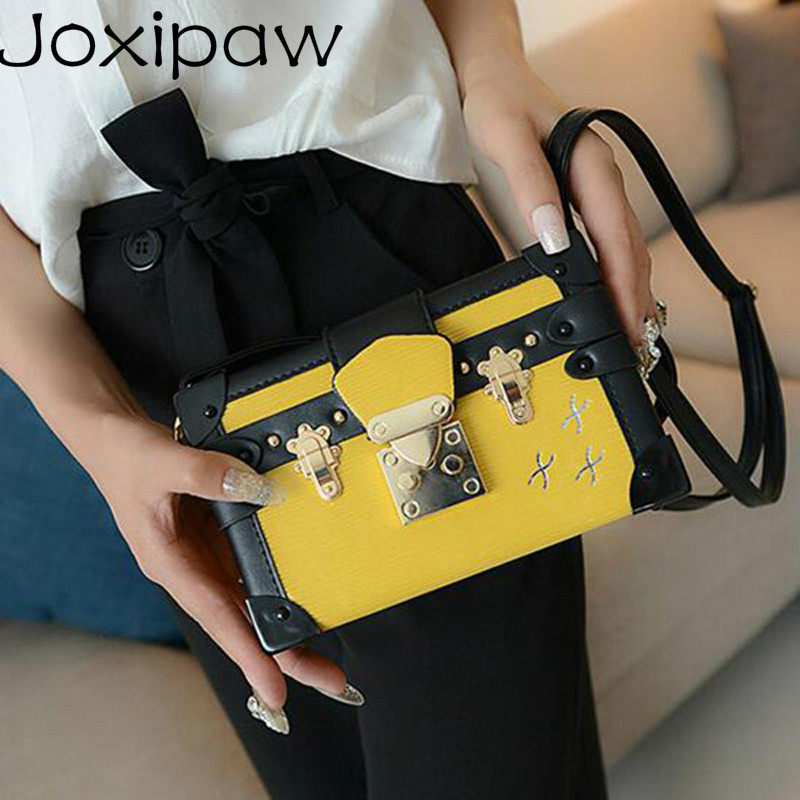 Fashion New Lady Evening Bag Messenger Bag Design Women Leather Handbag Patchwork Hard Box Retro Print Shoulder Bags Joxipaw
