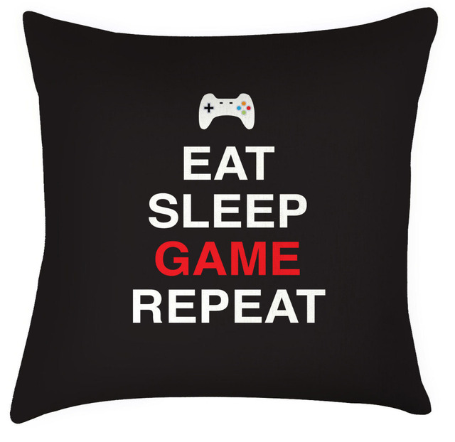 9d51fe81 Funny Quote Letter Throw Pillow Case Eat Sleep Game Repeat Gaming Cushion  Cover Print Video Game