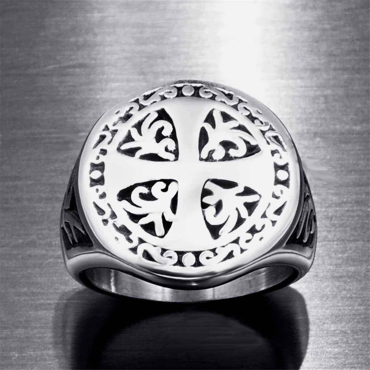 Vintage ไทเทเนียม Punk Rock คริสเตียนศาสนา Cross แหวน 316L สแตนเลสผู้ชายพ่อของขวัญเครื่องประดับขนาด 7 8 9 10 11 12 13 14