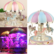 Musical Box Romantic Exquisite LED Light Merry Go Round Birthday Gift Kids Toy Music Carousel