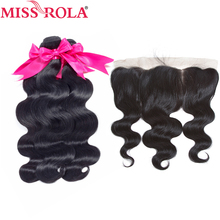 Miss Rola თმის ფერის წინამორბედი ბრაზილიური ტანის ტალღა არასამთავრობო Remy თმის 3 ჩალიჩები 13 * 4 მაქმანის ფრონტალური დახურვით 100% ადამიანის თმის ნაქსოვი