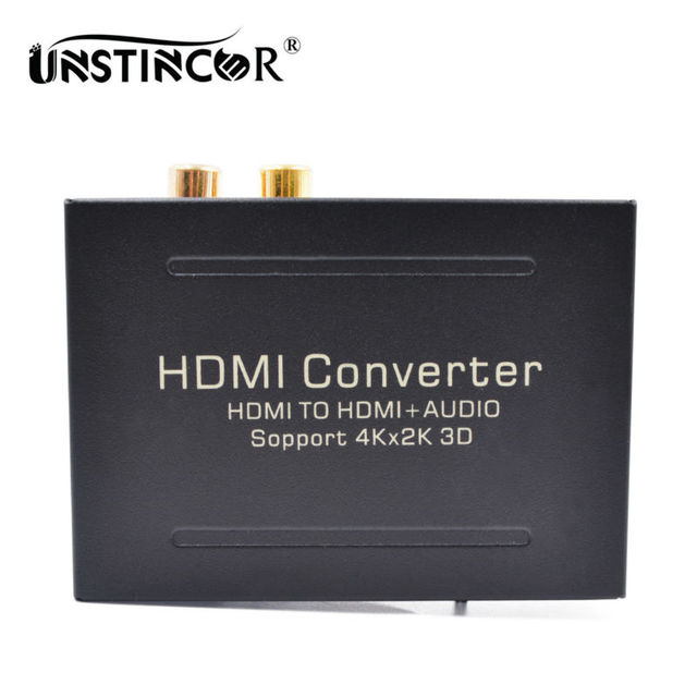 UNSTINCER HDMI to HDMI Audio Extractor Converter to Optical Toslink SPDIF +RCA L/R Stereo Analog Converter Support 4K x 2K 3D