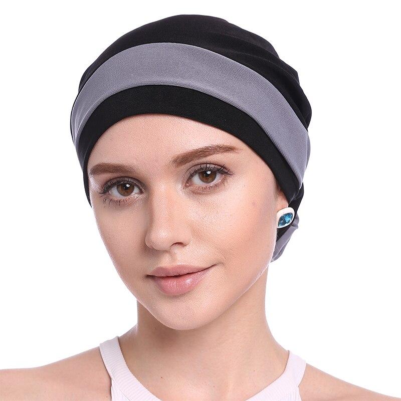 aedd08b5f11 Babalet Women s Elegant Soft Elastic Block Color Hind Flower Muslim Turban  Islamic Head Scarf Chemo Cancer