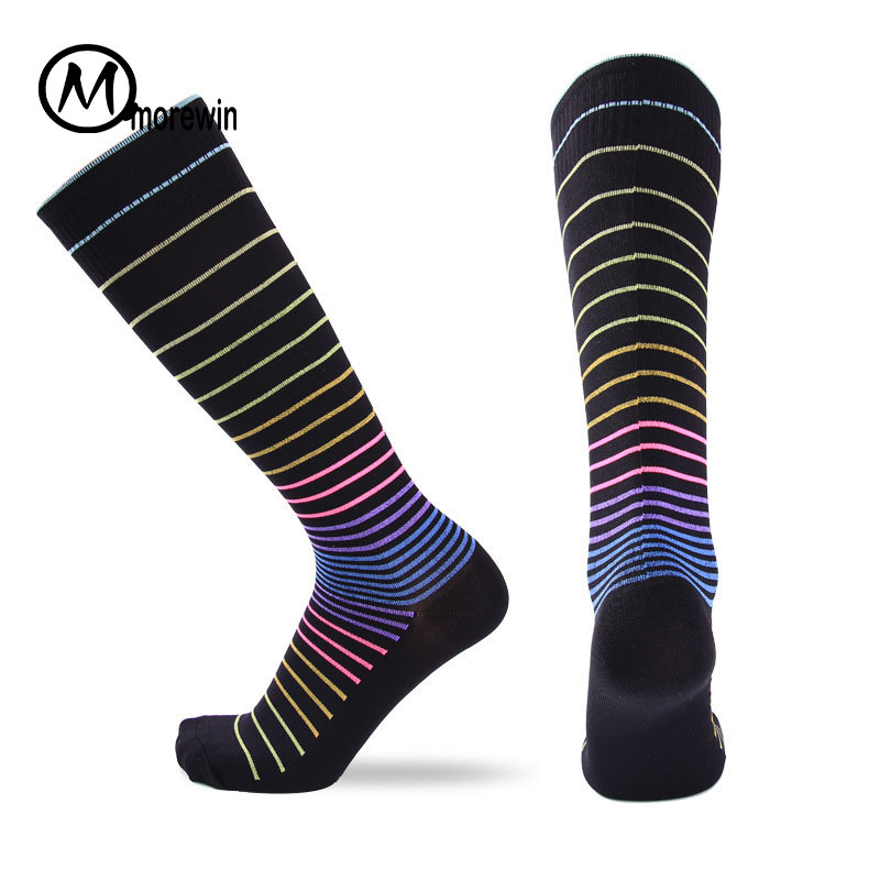 Morewin Brand Men Cotton Riding Cycling Socks Bicycle Sports Socks Breathable Long Soccer Socks Anti Slip Compression Stockings