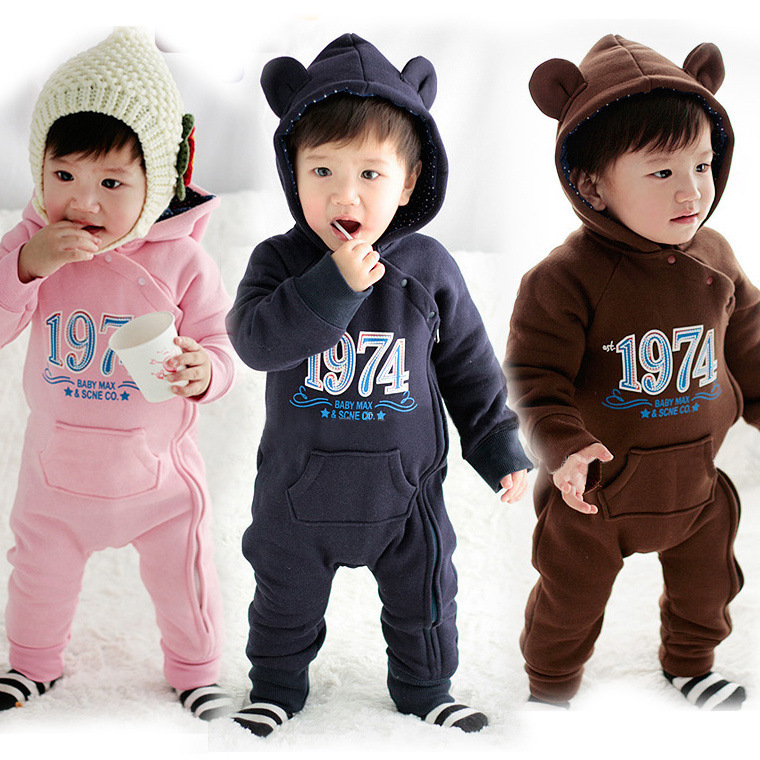 Free shipping 0-2 age Baby climb clothes Hooded baby girl clothes baby boy clothes Cotton Letter Pattern