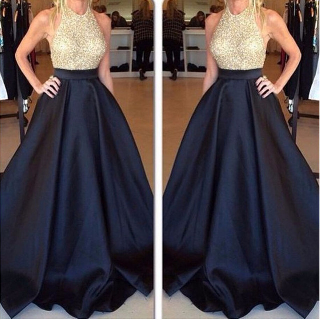 e25709b09089 Halter Beaded Long Prom Dresses Backless Evening Gowns sweet 16 Gold Silver  Sequins Royal Blue Plus Size Formal robe de soiree