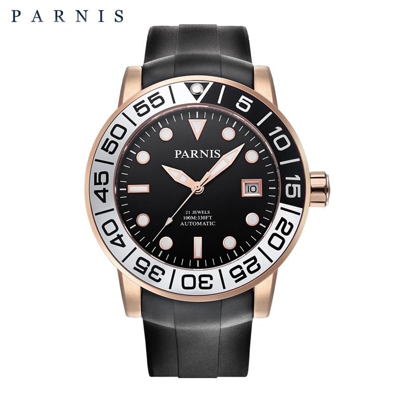 42mm Herenhorloge Parnis Sapphire Draaibare Gouden Bezel Zwart PVD - Herenhorloges