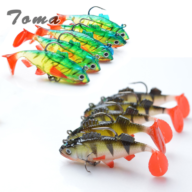 TOMA 5pcs/lot Soft Bait Lead Head Fish Lures 8g /9.5g Bass Fishing lure Sharp Treble Hook T Tail Sea Fishing Tackle 1 pcs fish lure topwater popper minnow freshwater fishing lures bass bait tackle 4 treble hook fishing lure bait color random