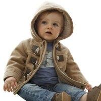 Winter Fashion Horn Button Child Thickening Outerwear Overcoat Male Child Outerwear Boy Jacket