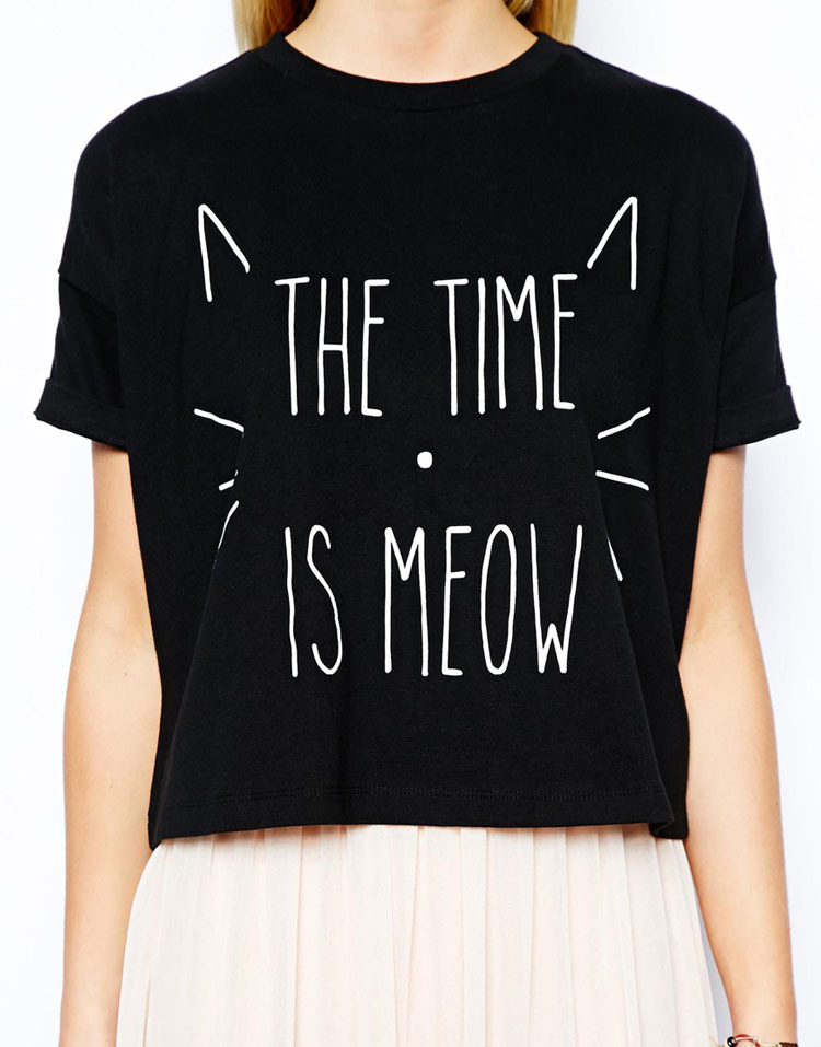 New 2015 Summer Women Letter The Time is Meow Cute Short T Shirt Crop Tops High Street Casual Women Clothing T shirt Plus Size