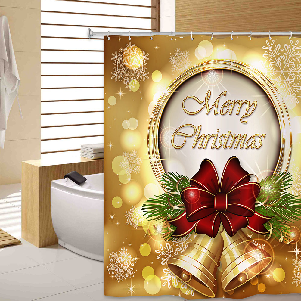180 X 180cm Mildew Resistant Fabric Shower Curtain 3D Christmas Bell Shower Curtain Waterproof WIth 12 Hooks For Bathroom Decor