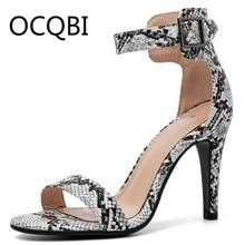 Womens Summer High Heel Single Strap Sandals Street Shoes Snake-grain Pattern Rome Ankle Strap Sandals ankle strap chunk heel sandals