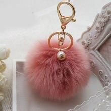 Брелок для ключей модный брелок с меховым помпоном из искусственного
