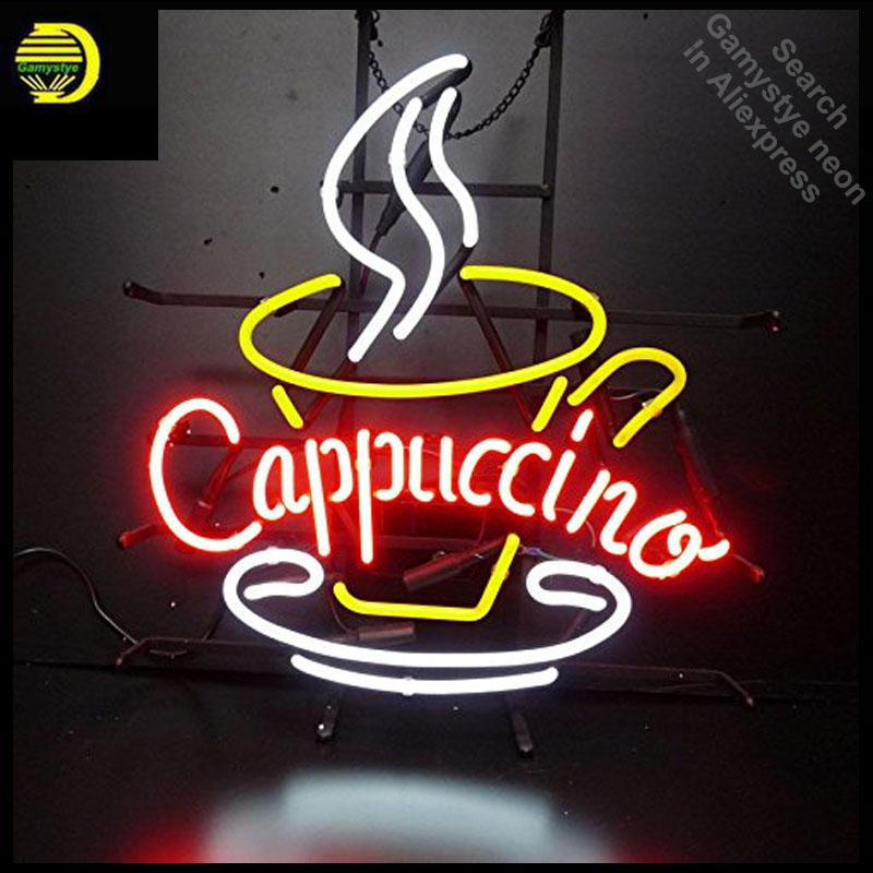 Cappuccino Coffee Neon Sign neon bulb Sign Glass Tube Custom BRAND neon light Recreation room Outdoor Iconic Sign arcade lamp neon sign open live nudes sexy girl neon light sign decorate real glass tube neon bulb arcade neon sign glass store display17x14