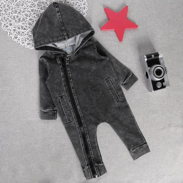 Fashion Baby Rompers Korean Oblique Zipper Long Sleeve Solid Color Hooded Jumpsuit Infant Clothing Children Clothing