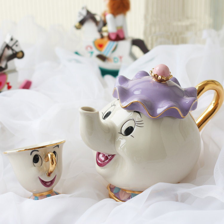 Hot Sale Gamla stilen Cartoon Beauty och The Beast Tekanna rån Mrs Potts Chip Tea Pot Cup One Set trevlig julklapp Gratis frakt