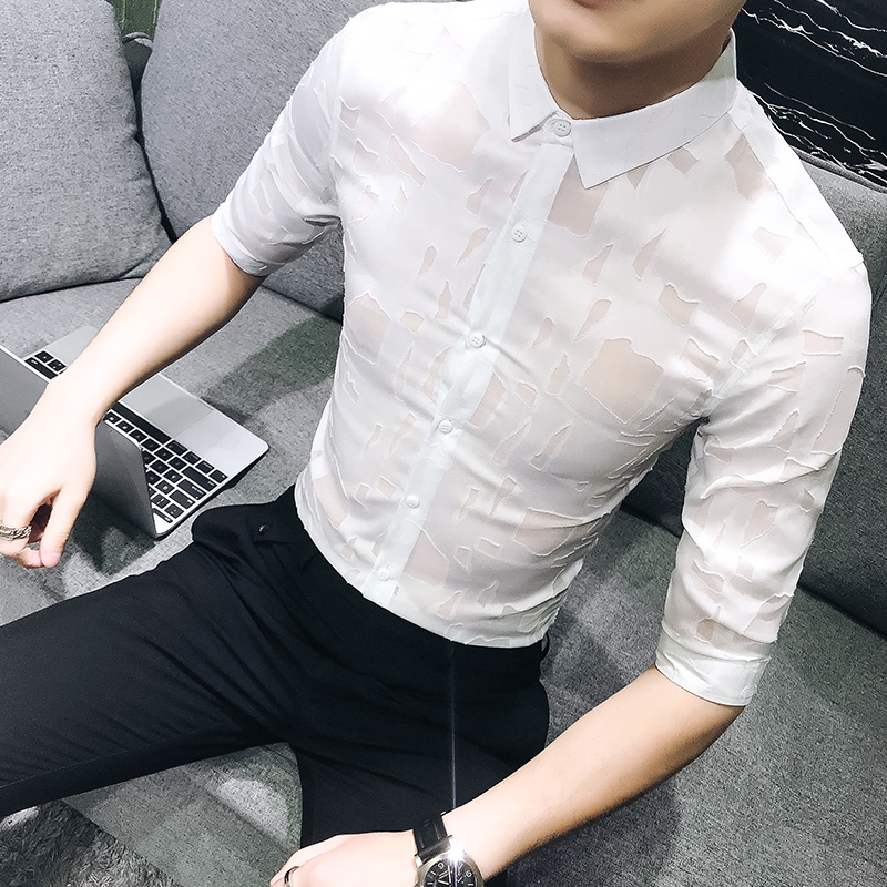 Sexy Hollow Tuxedo Shirt Summer Fashion Designer Slim Fit Mens Social Shirts Half Sleeve Casual Simple Hairstylist Work Shirts