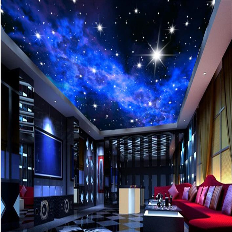 beibehang Custom Photo Star hotels wall 3D TV paper ceiling dream bedroom ceiling mural bright stars wallpaper papel de parede bright stars