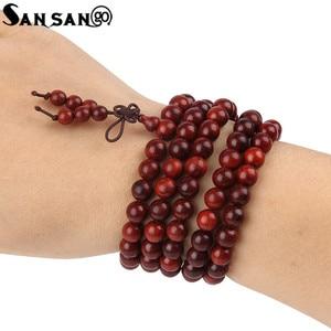 Image 2 - Religious Jewelry Sandalwood Buddhist Buddha 108 Prayer Bead Wooden Bracelet Woman Men Meditation Mala Bangle Jewelry 8mm Beads