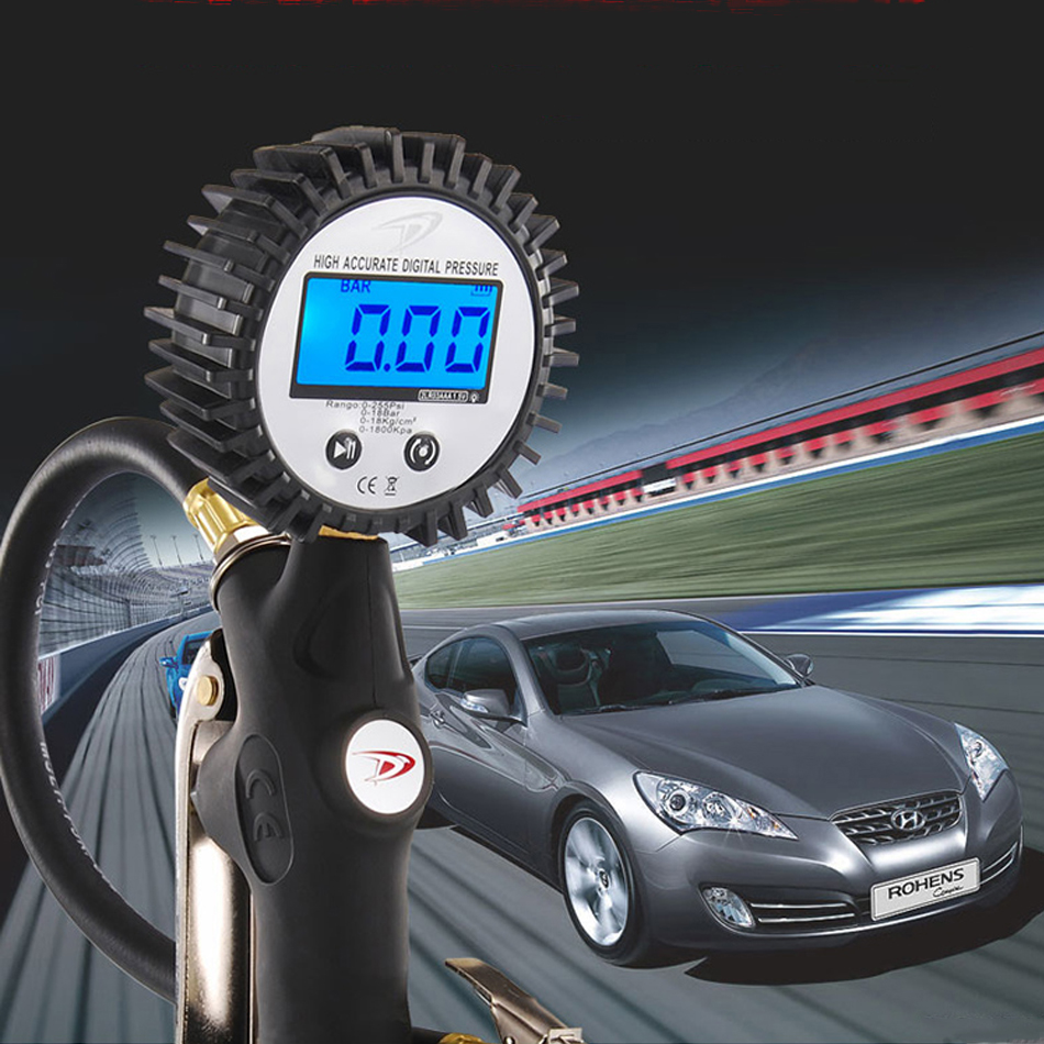 DP-703 Diagnostic High Accuracy Digital Display Tire Pressure Inflating Gauge Inflation Meter For Car Truck Motorcycle Vehicle