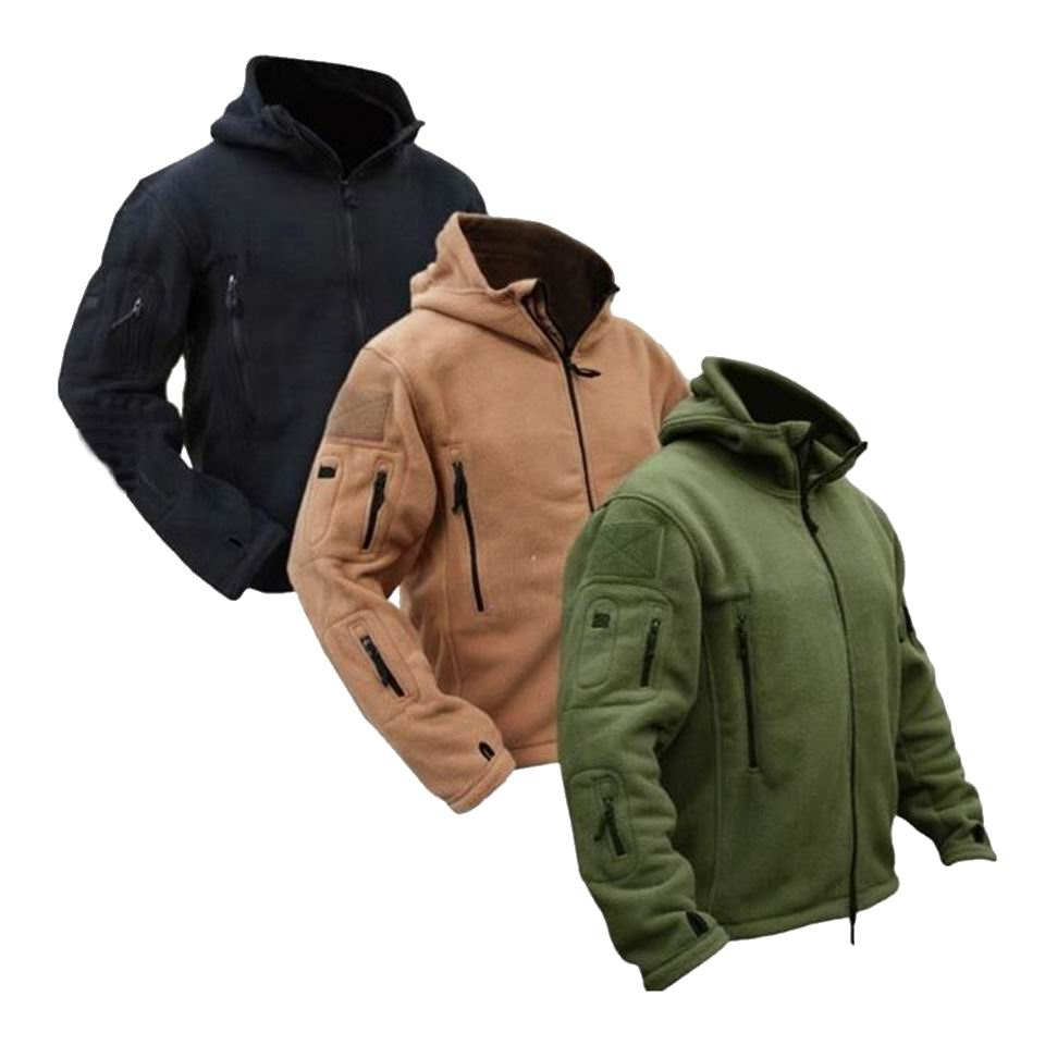 Tactical Jacket Softshell Military Coat Hooded Thermal Fleece Hiking Outdoors Sports