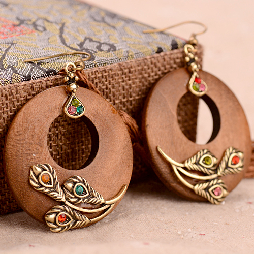 Vintage Handmade Round Wooden Earrings