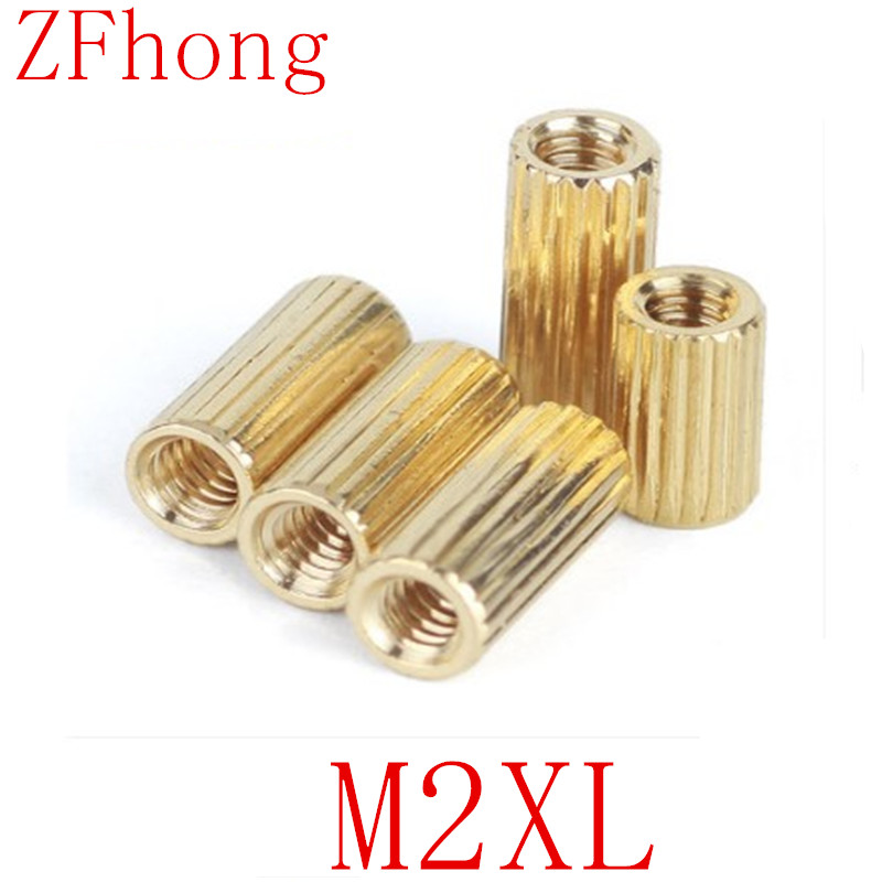 50pcs <font><b>M2</b></font>*L L=3mm to <font><b>30mm</b></font> 2mm thread Brass Round Standoff Spacer Female Female <font><b>M2</b></font> Brass Threaded Spacer image