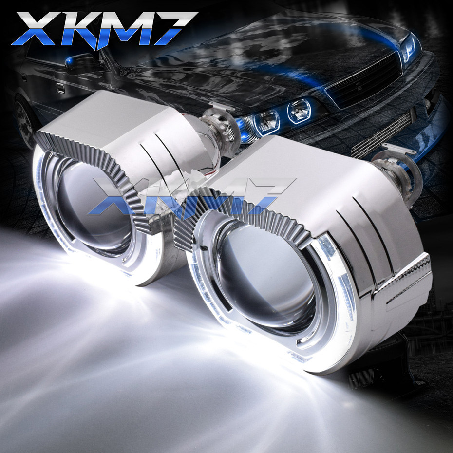 Sport Square LED Angel Eyes Halo Rings DRL HID Bixenon Headlight Projector Lens H1 H4 H7 Xenon Lenses 2.5'' Car/Motorcycle Retro