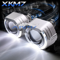 Sport Square LED Angel Eyes Halo Rings DRL HID Bixenon Headlight Projector Lens H1 H4 H7 Xenon Lenses 2.5'' Car/Motorcycle Retro