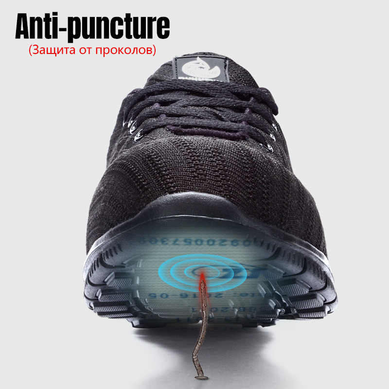 LARNMERN erkek hafif çelik burun güvenlik ayakkabıları yansıtıcı Anti-delinme nefes alabilen inşaat iş çizmeleri