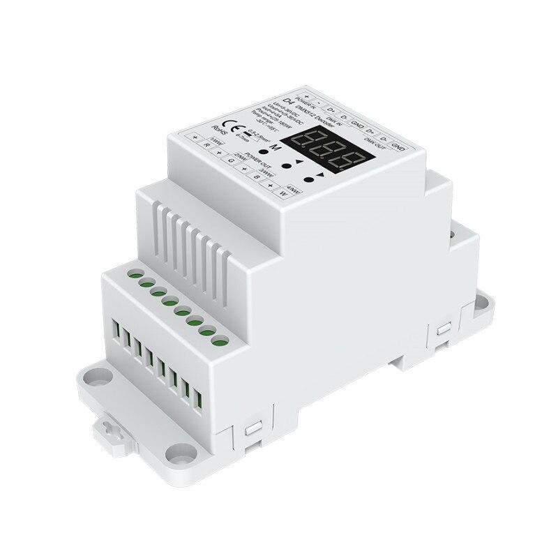 Neue 4 CH Konstante Spannung DMX512 Decoder RGB/RGBW Controller din-schiene montiert 4 kanal Dimmen Controller 5-24VDC D4