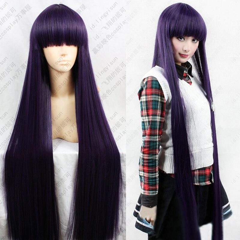 Inu X Boku SS Ririchiyo Shirakiin Riricho 100cm Purple Black Long Heat Resistant Hair Cosplay Costume Wig + Free Wig Cap