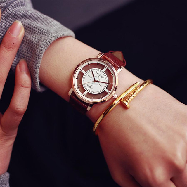 Luxury Women Neutral Personality Simple Analog Wrist Delicate Unique Hollow Watch 2018 NEW Clock Transparent With Mechanism 0521