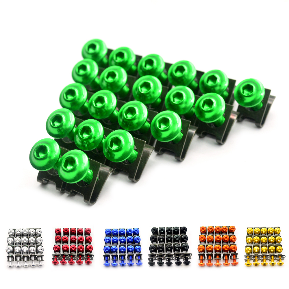 for 20pcs Motorcycle Scooters Fairing Body Bolts M6 6mm Spire Fastener Clips Screw  Nuts For FZS 600 FZS600 Fazer 98 99 00 01 02