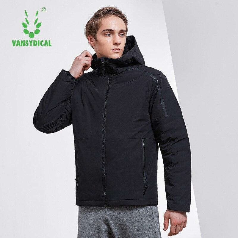 Vansydical спортивный пуховик, зимняя теплая Мужская ветрозащитная спортивная одежда с капюшоном и высоким воротником, топы, белый утиный пух, к
