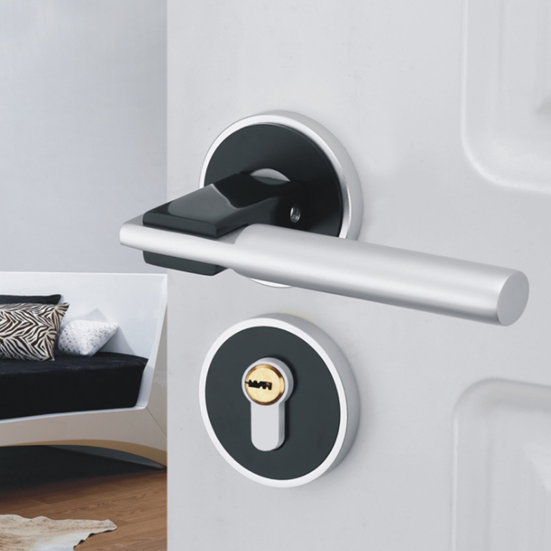 Black & Silver Space Aluminum Door Handle with Lock Cylinder Front Back Lever Latch Polished Home Security Interior Accessories 6 22 mm air universal hand tool refrigeration soft copper pipe manual tube expander