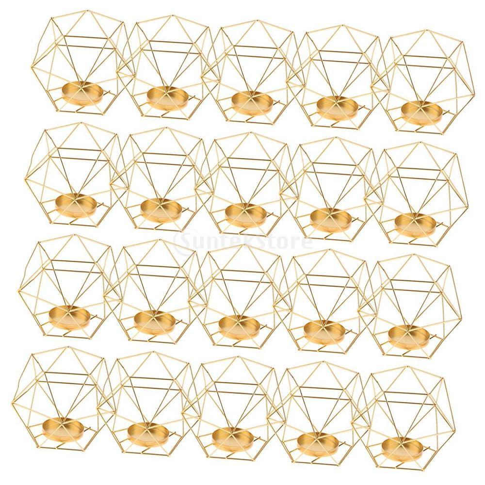 20 pièces 3D géométrique mariage géométrique chandelier bougie thé support de lumière humeur lumières détenteurs artisanat