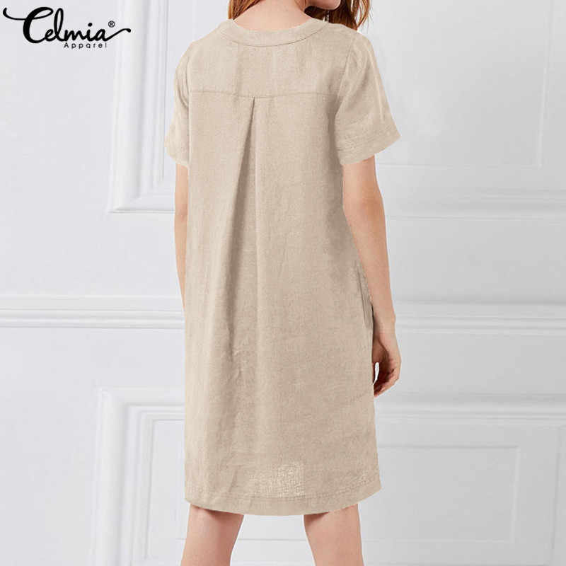 c08404a526 ... Celmia Women Vintage Linen Dress 2019 Summer Shirt Sundress Ladies  Short Sleeve Solid Casual Loose Sexy ...