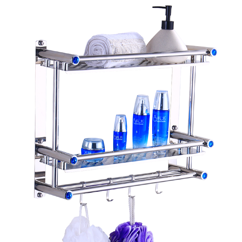 Stainless steel 3 layers bathroom shelf shower shampoo soap cosmetic shelves bathroom accessories with robe hook wall mount FG49 chrome stainless steel shelf with hook bracket shelves golden basket bathroom shower storage bathroom accessories