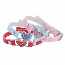 Adjustable Dog Collar Rhinestones Peach Heart Leather Pet Puppy Dog Collar Neck Strap Pet Supplies XXS/XS/S Red Pink Blue fkk4(China)