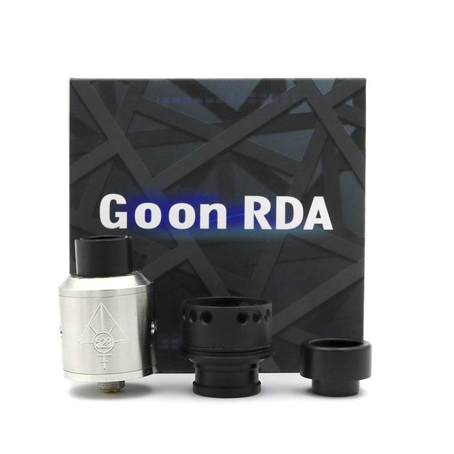 Mais novo GOON Atomizadores RDA Gotejamento Rebuildable Ajustável Fluxo de Ar Superior 24mm PEEK Isoladores 4 Cores Fit 510 Mods